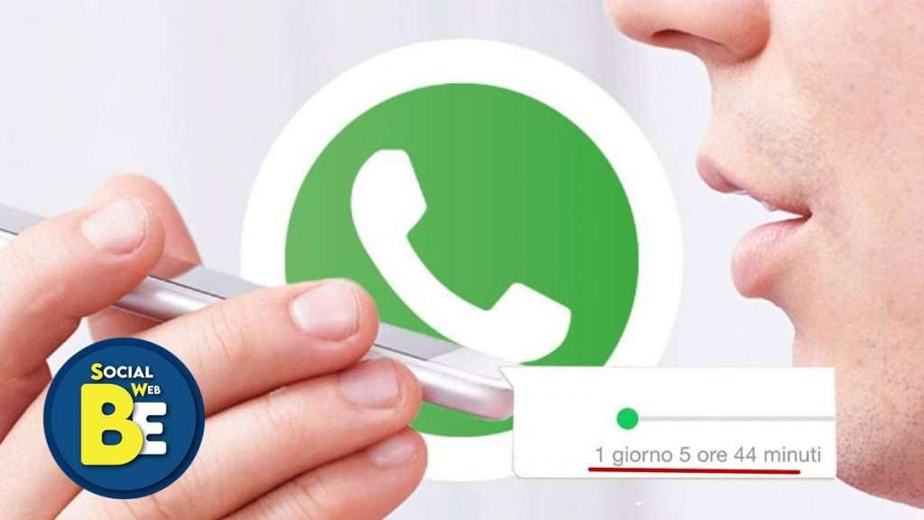 Aggiornamento WhatsApp messaggi vocali lunghi e veloci